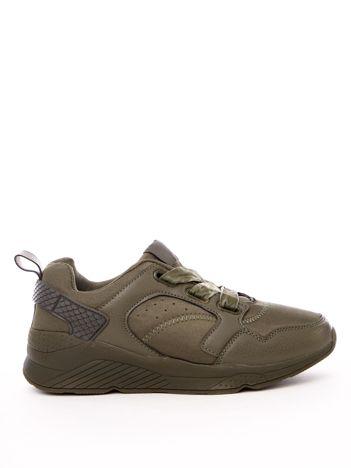 Oliwkowe buty sportowe z szerokimi welurowymi sznurówkami