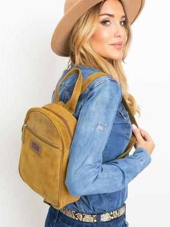 Oliwkowy zamszowy plecak