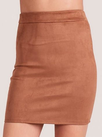 Ołówkowa spódnica z imitacji zamszu brązowa