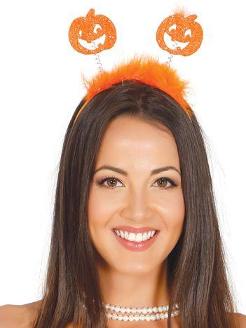 Opaska halloweenowa z piórkami i dyniami