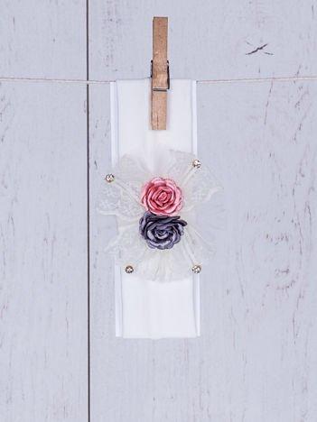 Opaska wizytowa dziewczęca z różami i kokardką ecru