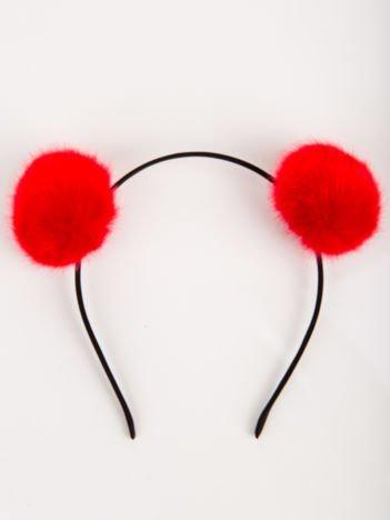 Opaska  z czerwonymi puchatymi pomponami