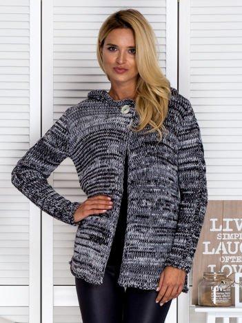 Otwarty sweter w jodełkę z kapturem czarny