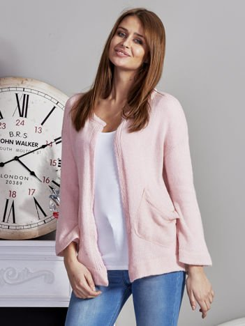 Otwarty sweter z kieszeniami różowy