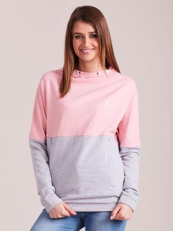 Outhorn Szaro-różowa bluza z kapturem i kieszeniami