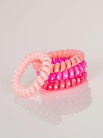 PAKA różowych gumek sprężynek do włosów