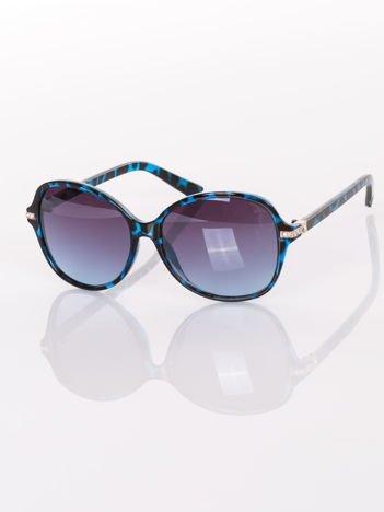 PANTERKA eleganckie okulary przeciwsłoneczne ze złotymi wstawkami z cyrkoniami