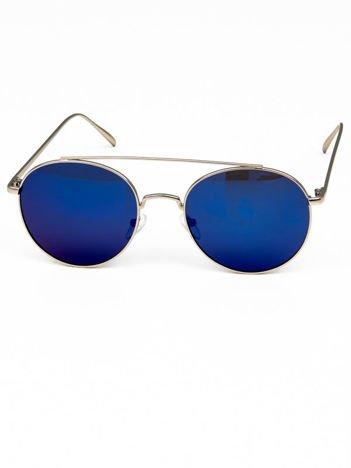 POLARYZACYJNE srebrne okulary typu LENONKI NIEBIESKIE LUSTRZANKI + miekkie etui i ściereczka gratis niebieski lustrzanka