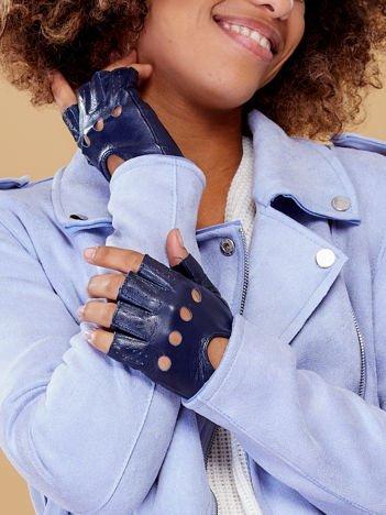 PREMIUM QUALITY Granatowe Skórzane Damskie Rękawiczki CAŁUSKI