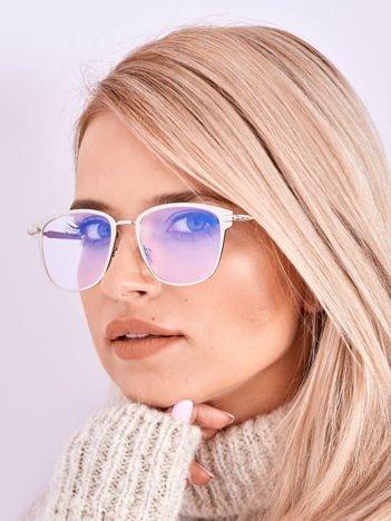 PREMIUM Srebrne Okulary Zerówki Z Powłoką Antyrefleksyjną