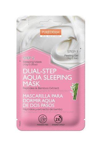 PUREDERM 2-etapowa maska nawilżająco-odżywiająca na noc PEPTYDY & BAMBUS 3+10 g