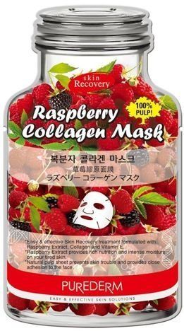 PUREDERM koreańska malinowo-kolagenowa maska odżywczo-nawilżająca na tkaninie