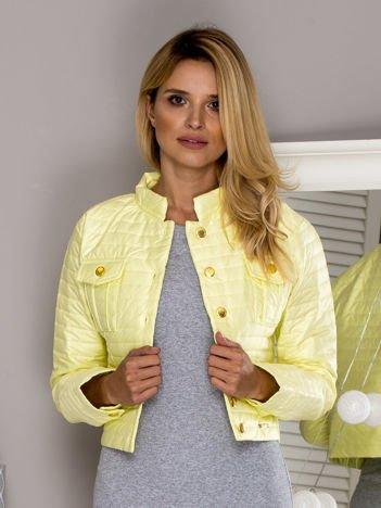Pikowana krótka kurtka na guziki żółta