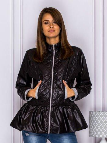 Pikowana kurtka przejściowa z baskinką czarna