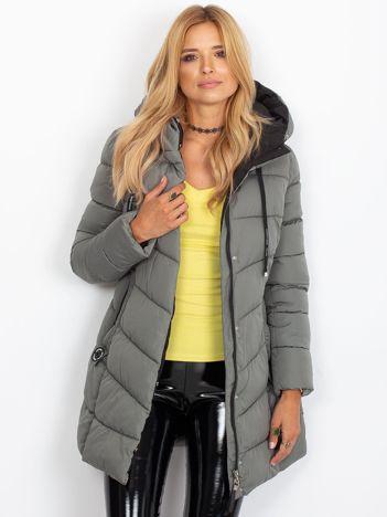 Pikowana kurtka zimowa z kapturem szara