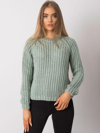 Pistacjowy sweter damski z dzianiny Grinnell RUE PARIS