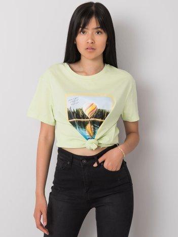 Pistacjowy t-shirt z nadrukiem Solly
