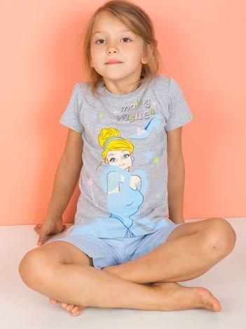 Piżama dziewczęca z nadrukiem KOPCIUSZEK szaro-niebieska