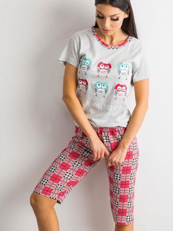 Piżama z nadrukiem szaro-różowa