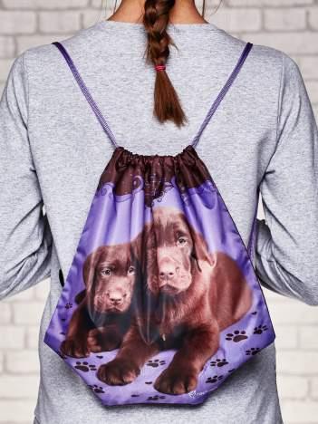 Plecak typu worek z nadrukiem szczeniaczków