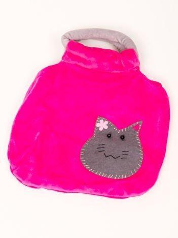 Pluszowa różowa torebka 20x25 cm z naszytym ozdobnym kotkiem dla dziewczynki