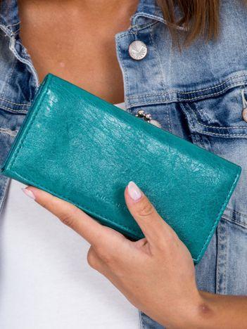 Podłużny portfel damski morski