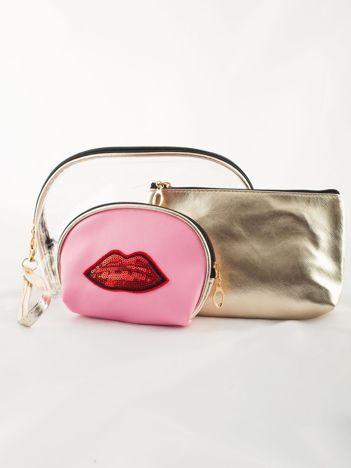 Podróżny zestaw kosmetyczek złoto-różowy 3 sztuki
