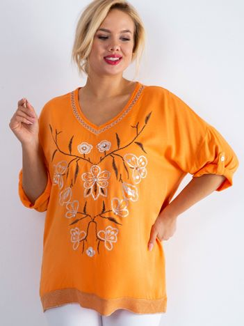 Pomarańczowa bluzka z nadrukiem i aplikacją PLUS SIZE