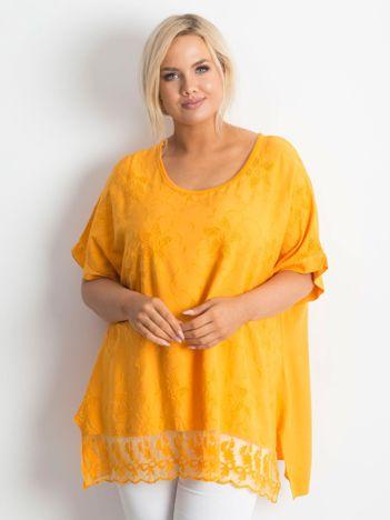 Pomarańczowa haftowana tunika PLUS SIZE