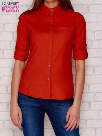 Pomarańczowa koszula ze wstawkami w groszki