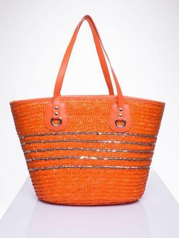 Pomarańczowa torba koszyk plażowy z cekinami