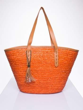 Pomarańczowa torba koszyk plażowy ze skórzanymi rączkami