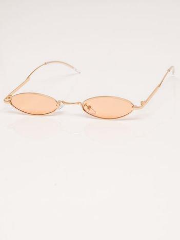 Pomarańczowe Metalowe Podłużne Okulary Unisex