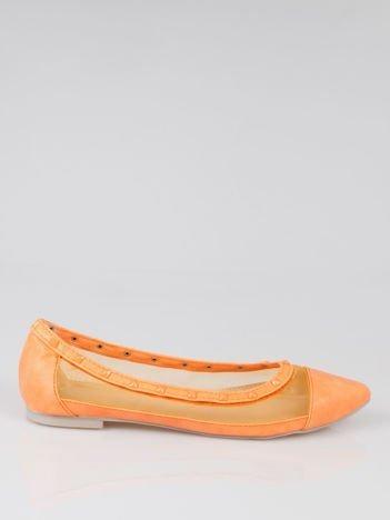 Pomarańczowe baleriny Crystal leather z siateczką i ćwiekami