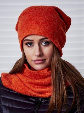 Pomarańczowy dzianinowy komplet czapka i komin