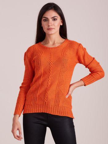 Pomarańczowy dzianinowy sweter damski