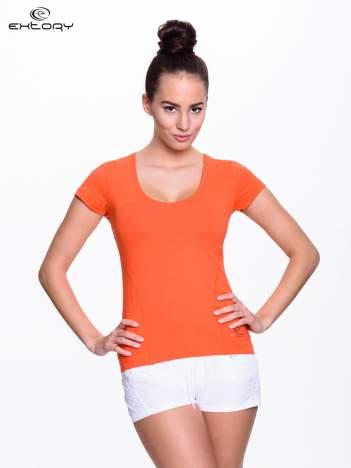 Pomarańczowy jednolity t-shirt sportowy