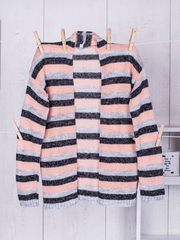 Pomarańczowy sweter dla dziewczynki w kolorowe pasy