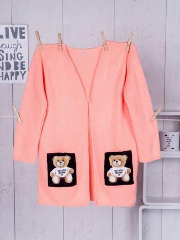Pomarańczowy sweter dla dziewczynki z misiami
