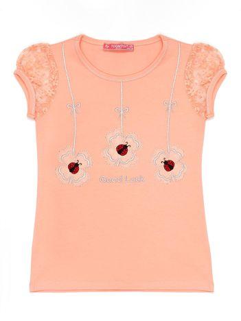 Pomarańczowy t-shirt dla dziewczynki z biedronkami