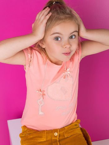 Pomarańczowy t-shirt dla dziewczynki z dżetami