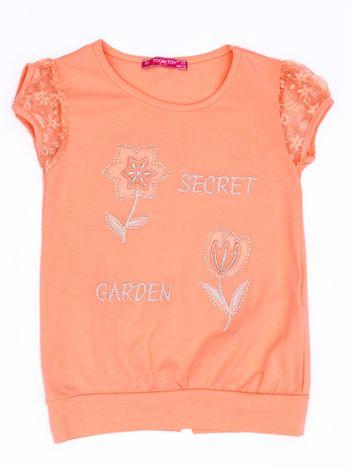 Pomarańczowy t-shirt dla dziewczynki z kwiatami