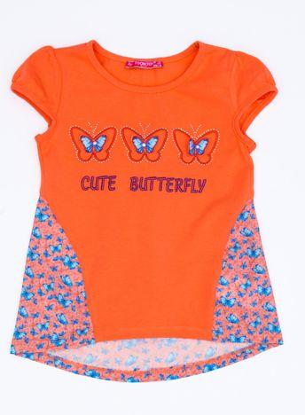 Pomarańczowy t-shirt dla dziewczynki z nadrukiem motyli