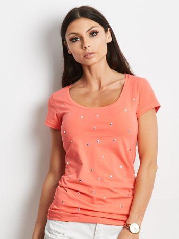 Pomarańczowy t-shirt z aplikacją