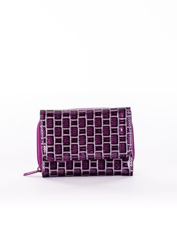 Portfel damski fioletowy z geometrycznym tłoczeniem