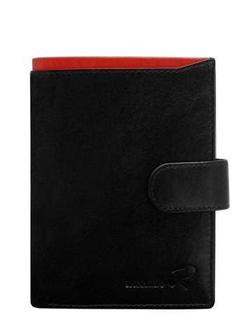 Portfel męski skórzany pionowy czarny z czerwoną wstawką