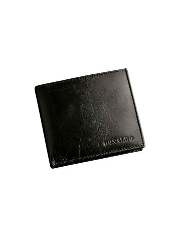 Poziomy czarny portfel męski