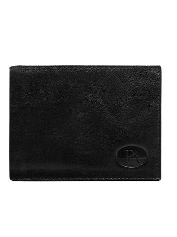 Poziomy czarny portfel męski skórzany bez zapięcia