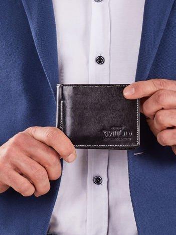 Poziomy męski portfel czarny