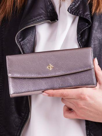 Poziomy portfel damski srebrny